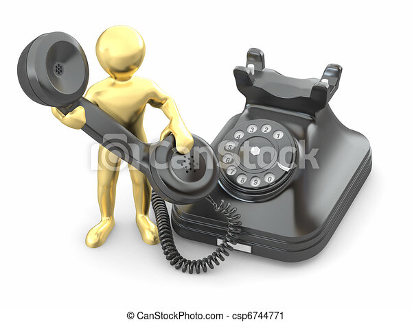 Contact us. Men with phone. 3d - csp6744771