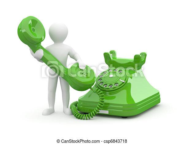 Contact us. Men with phone. 3d - csp6843718