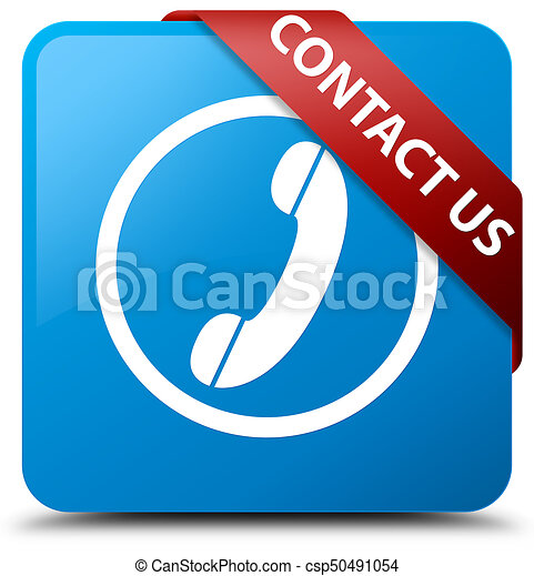 Contact us (phone icon) cyan blue square button red ribbon in corner - csp50491054