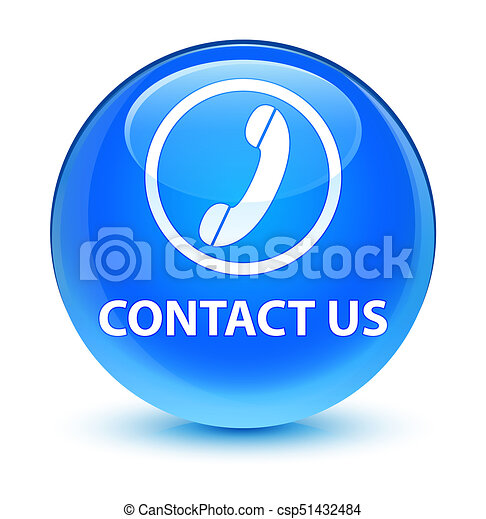 Contact us (phone icon) glassy cyan blue round button - csp51432484