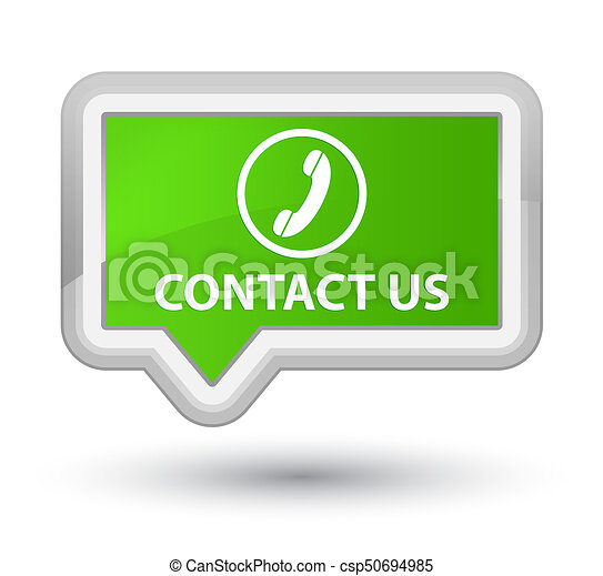 Contact us (phone icon) prime soft green banner button - csp50694985