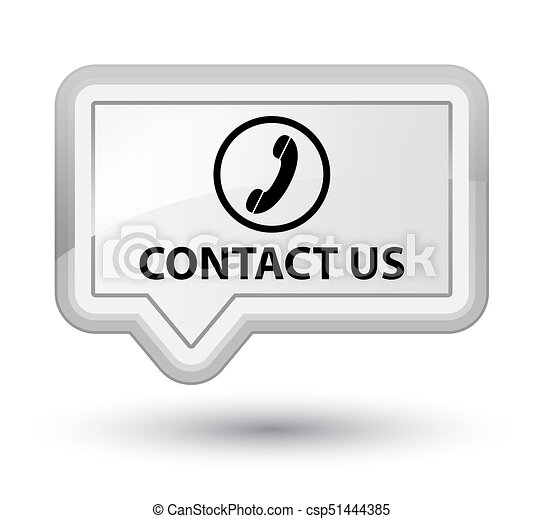 Contact us (phone icon) prime white banner button - csp51444385