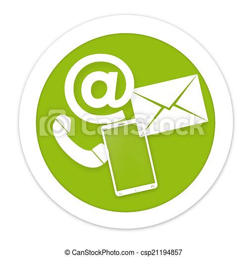 Contact Us round green icon button - csp21194857