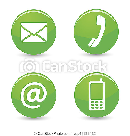 Contact Us Web Green Buttons Icons - csp16268432