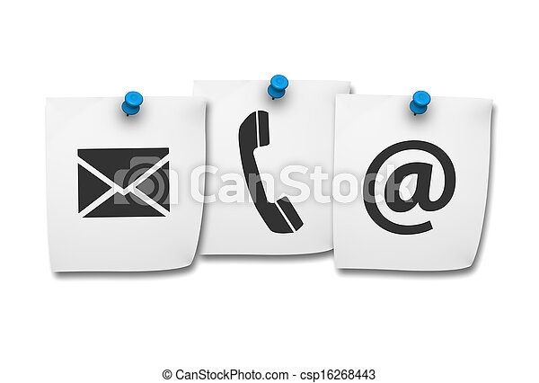 Contact Us Web Icons On Post It - csp16268443