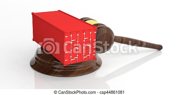 Container on an auction gavel. 3d illustration - csp44861081
