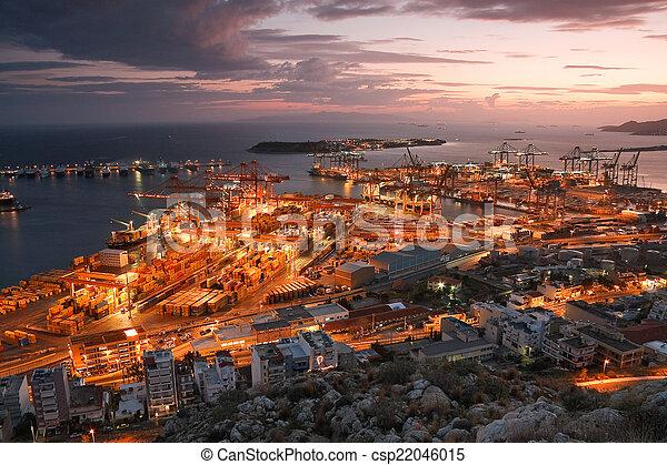Container port Piraeus, Athens. - csp22046015