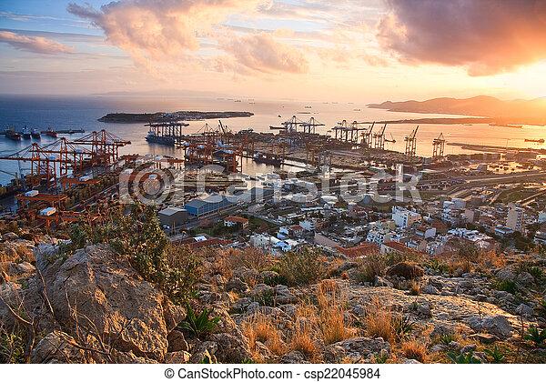 Container port Piraeus, Athens. - csp22045984