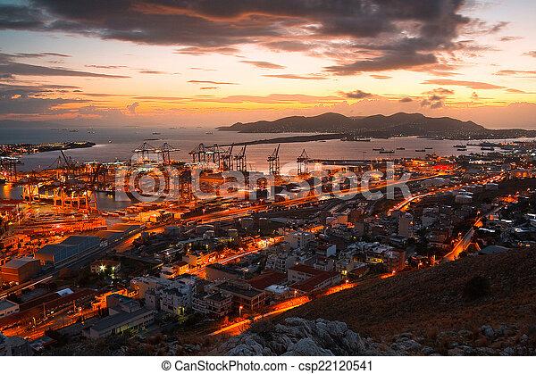 Container port Piraeus, Athens. - csp22120541