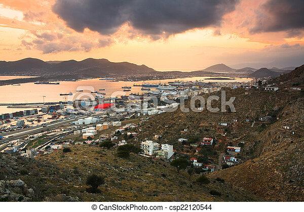 Container port Piraeus, Athens. - csp22120544