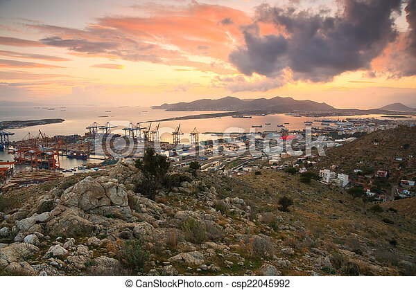 Container port Piraeus, Athens. - csp22045992