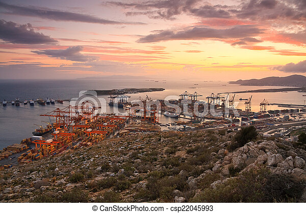 Container port Piraeus, Athens. - csp22045993