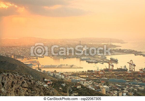 Container port Piraeus, Athens. - csp22067305