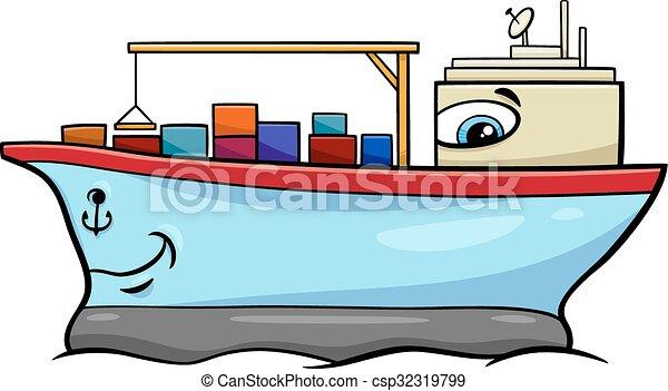 container ship cartoon character - csp32319799