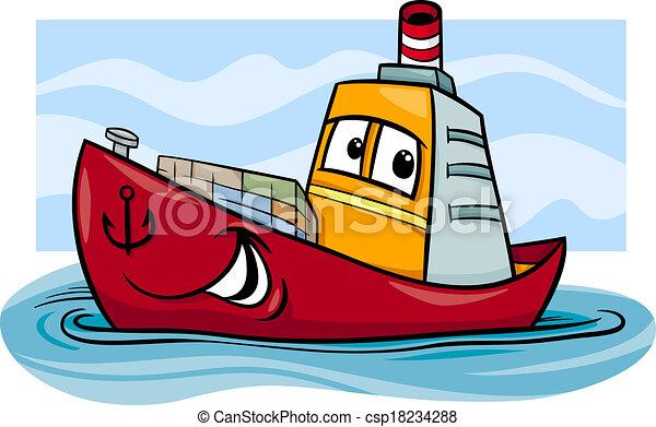 container ship cartoon illustration - csp18234288