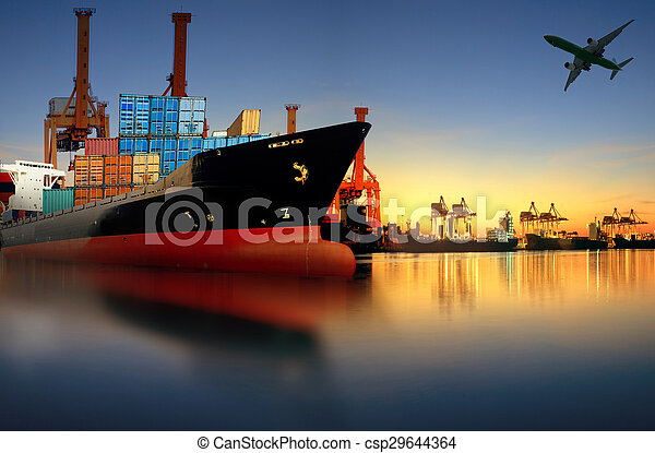 container ship in import, export port against beautiful morning light of loading ship yard use for freight and cargo shipping vessel transport - csp29644364