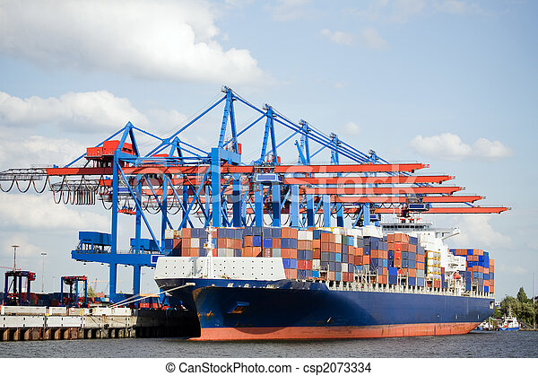 container ship in port - csp2073334