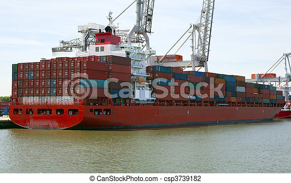 container ship in the harbour of rotterdam - csp3739182