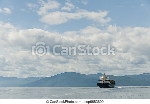 container ship on a beautiful blue sky - csp6683699