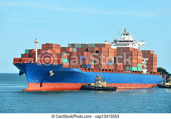 Container stack on freight ship - csp13415553