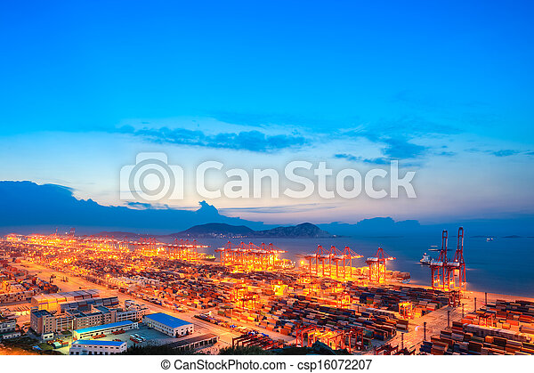 container terminal in nightfall - csp16072207