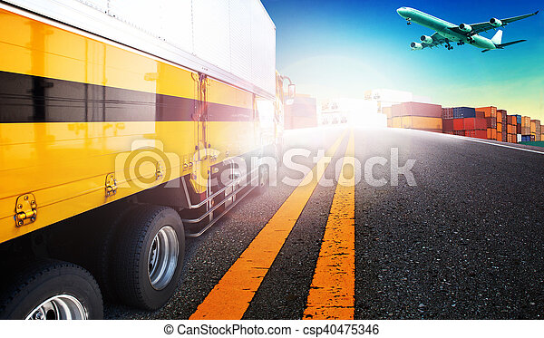 container truck and freight cargo plane flying over ship yard for logistic and transport business - csp40475346