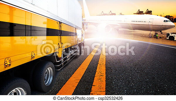 container truck and ship in import,export harbor port with cargo freight plane flying use for transport and logistic ,shipping business background,backdrop - csp32532426