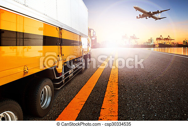container truck and ship in import,export harbor port with cargo freight plane flying use for transport and logistic ,shipping business background,backdrop - csp30334535