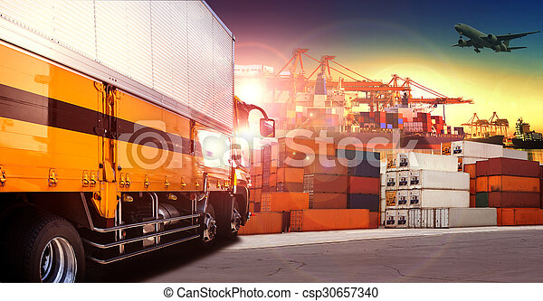 container truck in shipping port ,container dock and freight cargo plane flying above use for transportation and logistic indutry - csp30657340