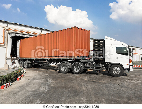 Container truck loading goods at wa