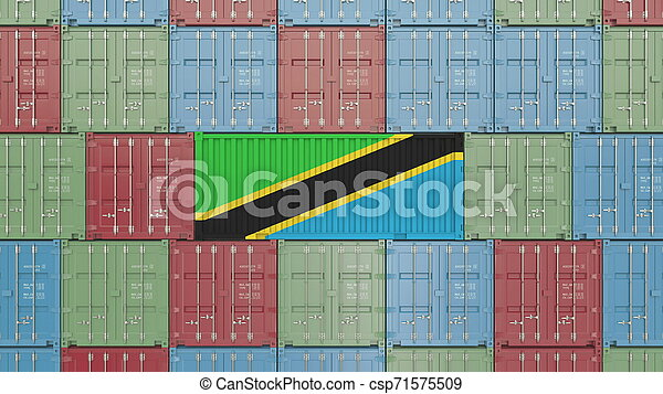 Container with flag of Tanzania. Tanzanian goods related conceptual 3D rendering - csp71575509