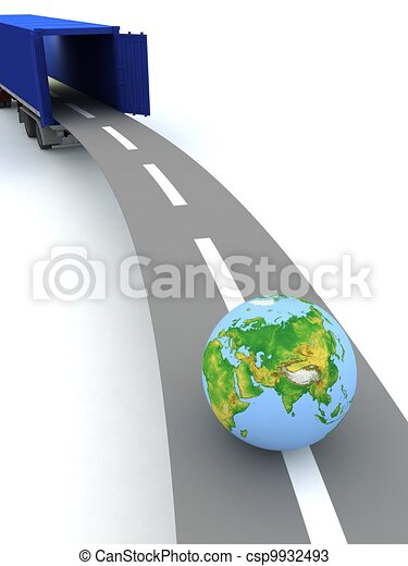 Container with open doors and a globe. We offer international transportation. - csp9932493
