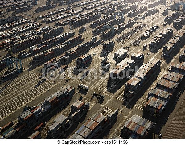 containers., 航空写真, 貨物 - csp1511436