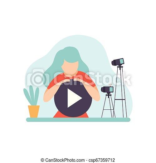 conteúdo, mulher, criando, conceito, blogger, jovem, ilustração, vetorial, vídeo, flâmula, femininas, online, canal - csp67359712