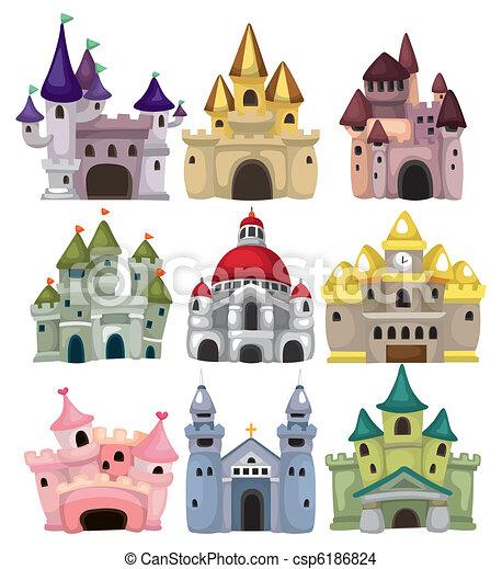 conte, château, icône, fée, dessin animé - csp6186824