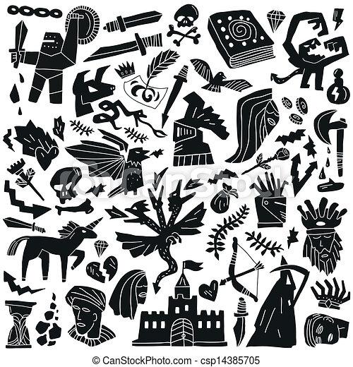conte, doodles, fée, - - csp14385705