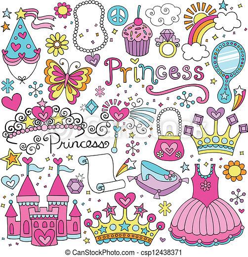 conte fées, vecteur, diadème, ensemble, princesse - csp12438371