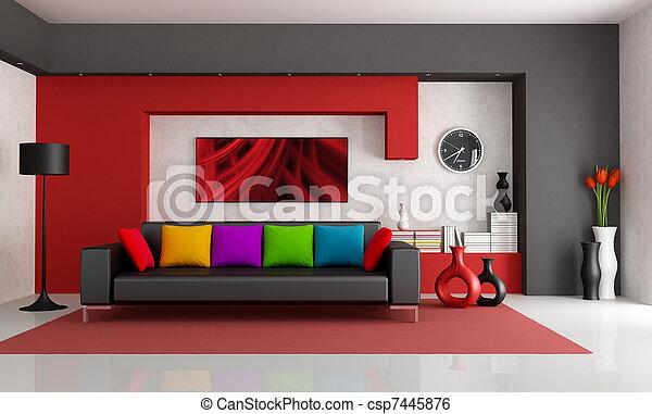 contemporâneo, sala, vivendo - csp7445876