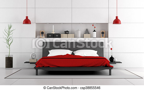 Contemporary bedroom with double bed. Contemporary white bedroom ...