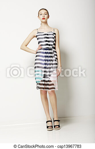 Contemporary Clothes Collection. Woman in Spring Light Dress with Grey Streaks. Fashion - csp13967783