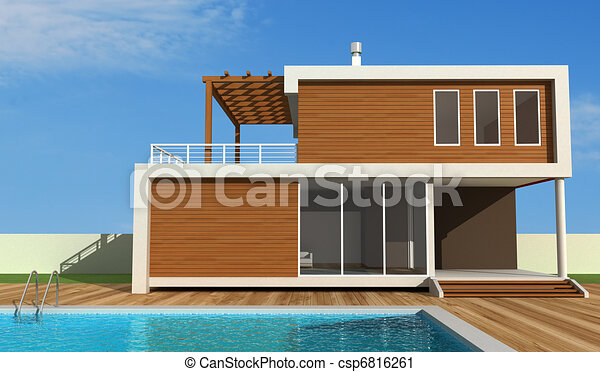 Clipart of contemporary holiday villa luxury modern house with