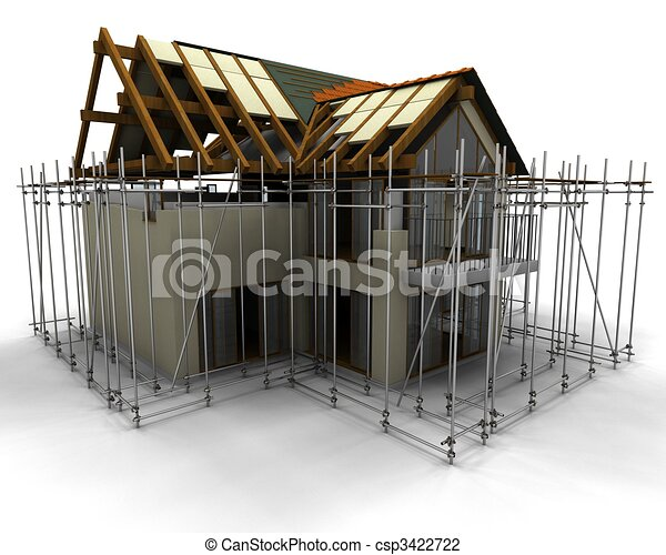 contemporary house under construction with scaffold - csp3422722