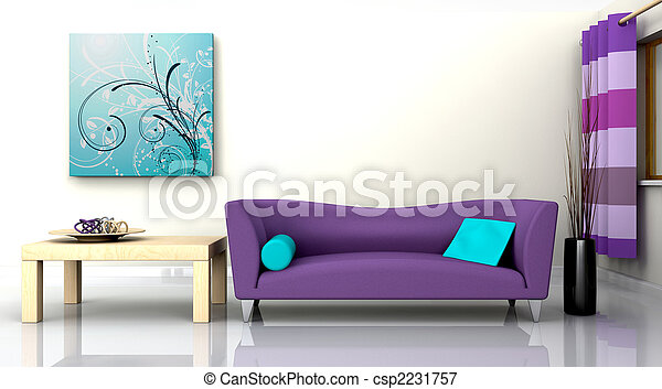 contemporary interior and sofa - csp2231757