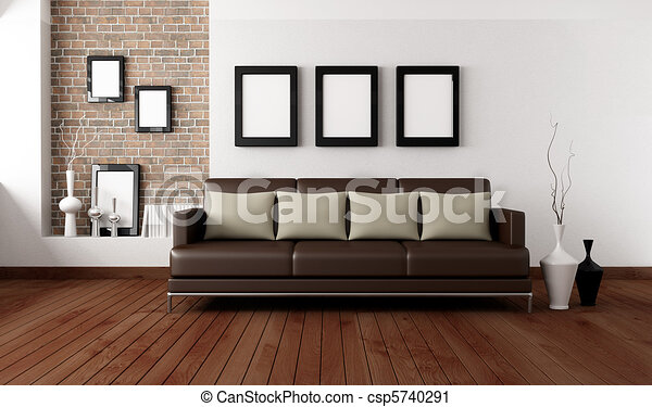 Contemporary Living Room Brown Sofa With Pillow In Front A White