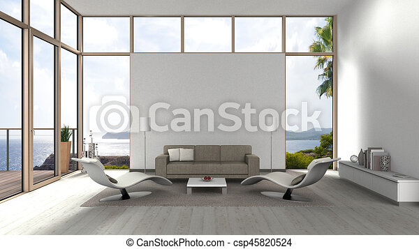 contemporary living room with glass front windows - csp45820524
