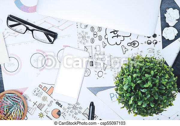 Contemporary messy desk top - csp55097103
