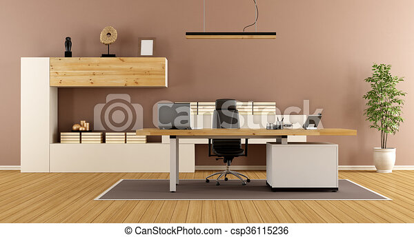 Contemporary office room. Contemporary office with bookcase ...