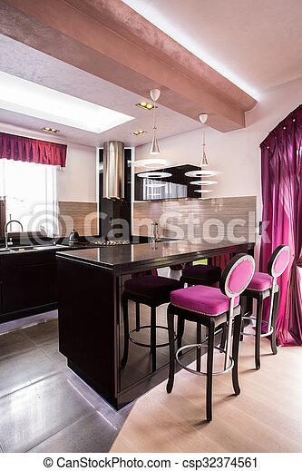 Contemporary open kitchen - csp32374561