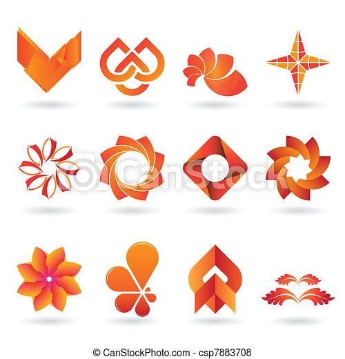 Contemporary Orange Logo and Icon Collection - csp7883708