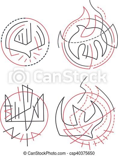 Contemporary Religious Symbols Hand Drawn Vector Illustration Or